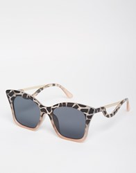 Asos Square Cat Eye Sunglasses In Cp With Drop Arm Gray