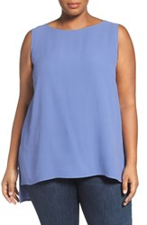 Eileen Fisher Plus Size Women's Silk Crepe Georgette Bateau Neck Shell Periwinkle
