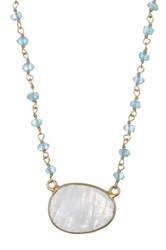 Phillip Gavriel Gold Tone Finished Sterling Silver Apatite Station And Rainbow Moonstone Pendant Necklace Multi