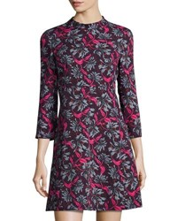 Rebecca Taylor Floral Mock Neck A Line Dress Purple Pattern