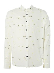 Only And Sons All Over Micro Print Long Sleeved Shirt Off White
