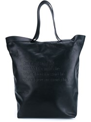 Ann Demeulemeester Embossed Quote Tote Black
