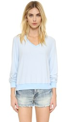 Wildfox Couture Vintage Varsity Baggy Beach V Neck Sweatshirt Jacuzzi