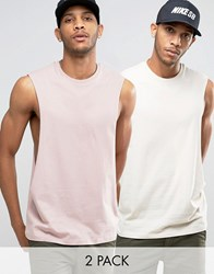 Asos Sleeveless T Shirt With Extreme Dropped Armhole 2 Pack Pink Grey Multi