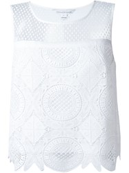 Diane Von Furstenberg Macrame Layered Top White