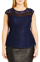 City Chic Plus Size Women's 'Mysterious' Cap Sleeve Lace Top