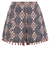 Glamorous Shorts Navy Orange Off White