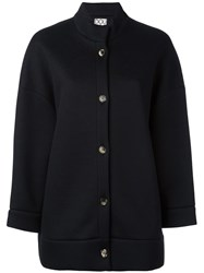 Douuod Collarless Boxy Jacket Black