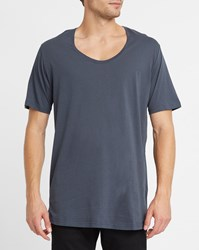 Iriedaily Dark Grey Long Low Round Neck T Shirt