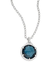 Judith Ripka Eclipse London Blue Spinel White Sapphire And Sterling Silver Pendant Necklace Silver Blue