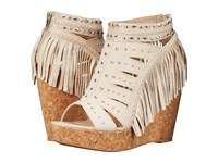 Not Rated Frolic In Fringe Cream Women's Wedge Shoes Beige