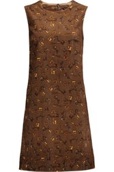 Dolce And Gabbana Printed Cotton Corduroy Mini Dress Dark Brown