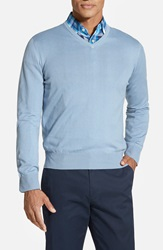 Robert Talbott Classic Fit V Neck Sweater Cielo Blue
