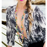 Shh By Sadie Sea Candy Woven Necklace Neon Pink And Orange