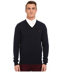 Fred Perry Classic V Neck Sweater Dark Carbon Men's Sweater Navy