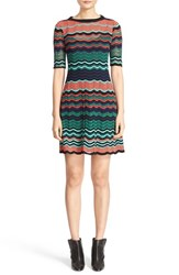 M Missoni Women's Ripple Stitch Fit And Flare Dress Coral