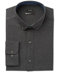 Bar Iii Men's Wear Me Out Slim Fit Charcoal Flannel Dress Shirt Only At Macy's