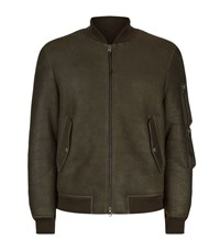 Allsaints Rogan Shearling Bomber Jacket Male Grey