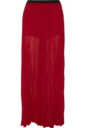 Enza Costa Crinkled Chiffon Maxi Skirt Red