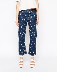 See By Chloe Jeans With Embroidered Flowers Blue