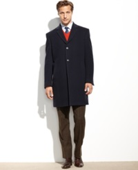 Tommy Hilfiger Barnes Cashmere Blend Overcoat Trim Fit Navy