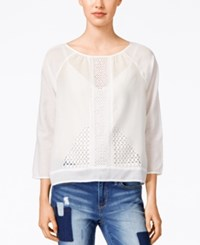 Calvin Klein Jeans Lace Three Quarter Sleeve Top Classic White