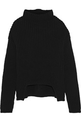 Rick Owens Asymmetric Chunky Knit Wool Turtleneck Sweater