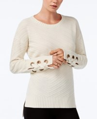 Bar Iii High Low Grommet Detail Sweater Only At Macy's Sandy Heather