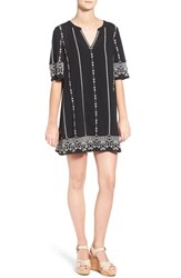Hinge Women's Embroidered Caftan Black Ivory Embroidery