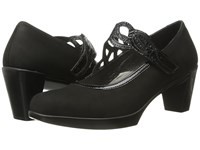 Naot Footwear Luma Black Velvet Nubuck Black Crinkle Patent Leather Women's Maryjane Shoes