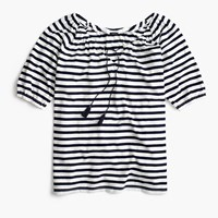 J.Crew Striped Peasant Top Ivory Navy