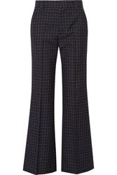 Marc Jacobs Checked Wool Wide Leg Pants Navy
