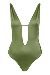 Topshop Strappy Plunge Swimsuit Khaki