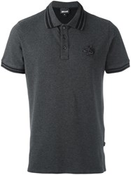 Just Cavalli Contrasting Trim Polo Shirt Grey