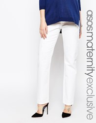 Asos Maternity Boyfriend Jean In White With Over The Bump Waistband White