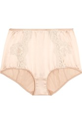 Dolce And Gabbana Lace Trimmed Stretch Silk Satin Briefs Neutral
