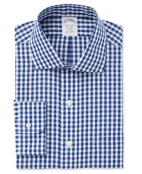 Brooks Brothers Men's Milano Extra Slim Fit Blue Checked Dress Shirt