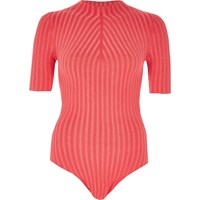 River Island Womens Bright Pink Ribbed High Neck Bodysuit