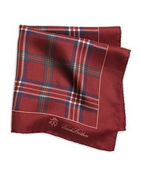 Brooks Brothers Tartan Plaid Pocket Square Burgundy