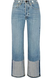 Rag And Bone Embellished Cropped High Rise Straight Leg Jeans Light Denim