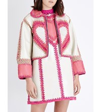 Katie Jones Embroidered Trim Leather Jacket Cream Pink