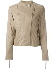 P.A.R.O.S.H. Creased Biker Jacket Nude And Neutrals
