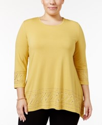 Jm Collection Plus Size Embellished Handkerchief Hem Top Only At Macy's Roman Gold