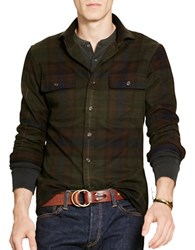 Polo Ralph Lauren Suede Elbow Plaid Twill Shirt Green