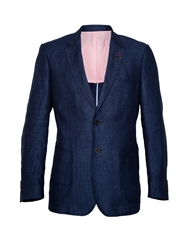 Raging Bull N Aherringbone Button Blazer Navy