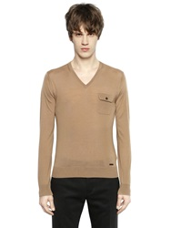 Dsquared V Neck Wool Sweater With Pocket Camel