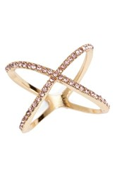 Junior Women's Bp. Rhinestone Crossover Ring Pink Gold