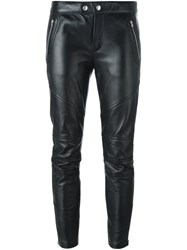 Saint Laurent Leather Biker Trousers Black