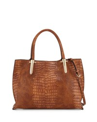 Neiman Marcus Willow Crocodile Embossed Satchel Bag Cognac