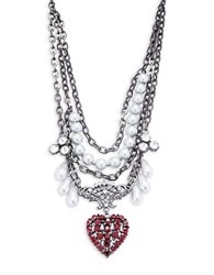 Gerard Yosca Faux Pearl And Crystal Heart Pendant Statement Necklace Silver